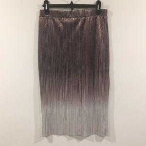 Jasmine & Juliana Metallic MIDI Pleated Skirt